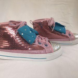Jojo Siwa Pink Sequin Hi Top Shoes w/ Teal / Aqua Blue Bows - Girls Size 1 for Sale in Daytona Beach, FL