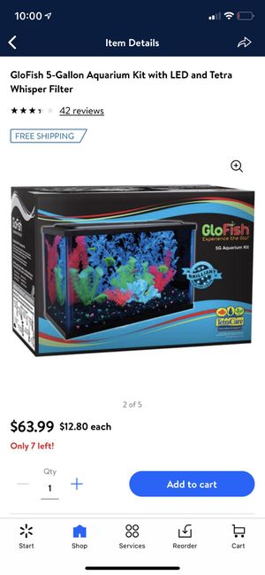 GLOFISH 5 gallon Aquarium kit LED FISH TANK for Sale in Las Vegas, NV