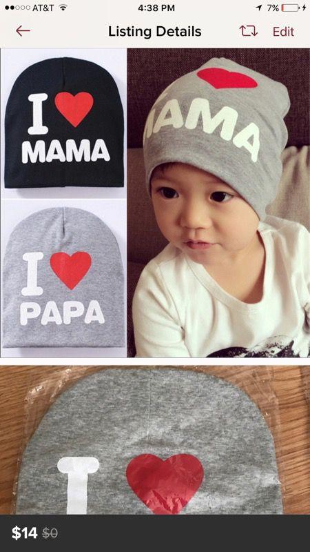 I love mama, papa hats