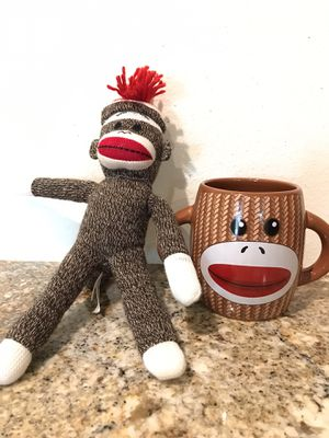 Schylling Sock Monkey Stuffed Animal & Cup for Sale in Orange, CA