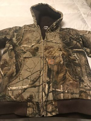 New Carhartt Camo insulates hunting jacket. Youth large 12/14 for Sale in Piedmont, SC