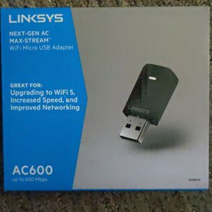 Linksys - Next-Gen AC Dual-Band AC600 USB Network Adapter - Black for Sale in Carson, CA