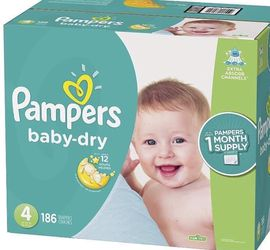 Pampers Baby Dry size 4 diapers- pañales for Sale in Downey,  CA