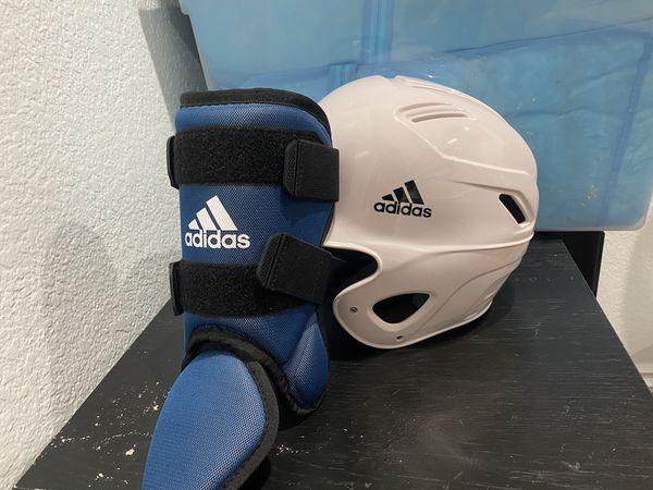 Adidas helmet and foot guard baseball