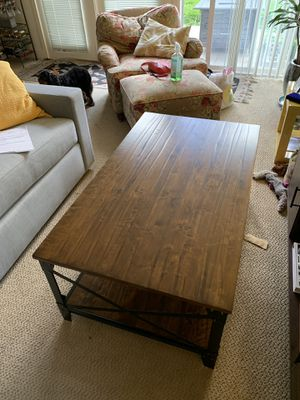 Double Layered Steel Framed Wooden Coffee Table for Sale in San Francisco, CA