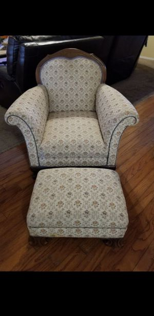 Beautiful antique smoking chair & footstool 200.00 for Sale in Fresno, CA