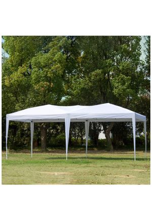 charaHOME 10 x 20 Canopy Tent Pop Up Portable Shade Instant Heavy Duty Outdoor Gazebo White Canopy Tent with Carry Bag for Outdoor Party Wedding Comm for Sale in Rancho Cucamonga, CA