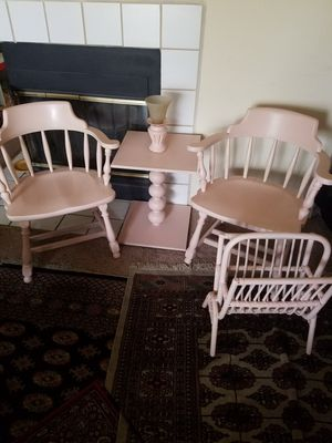 Occitanian-style cocktail table, two vintage chairs, and wicker magazine holder set. for Sale in Orlando, FL