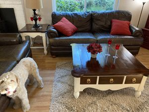 Very high quality sturdy all wood Coffee Table 40x40x19H and End Table 24x28x24H for Sale in Roseville, CA