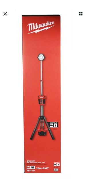 Milwaukee Rocket 2500 lumens LED Dual Power Tripod Tower LightItem no. 3926656|2131-20 | 12 Reviews Promotional Badge Image Milwaukee Rocket 2500 l for Sale in Highland, CA