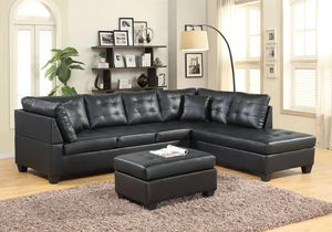 Black Leather Sectional for Sale in Silver Spring, MD