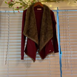 Burgundy And Faux Fur Cardigan for Sale in Hilliard, OH
