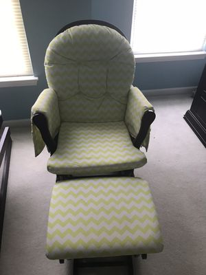 Light Green Chevron Glider and Ottoman for Sale in Brambleton, VA
