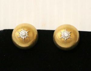 Buccellati Macri Diamond Button Clip On 18K 750 Yellow Gold Rigato Earrings for Sale in Fort Mill, SC