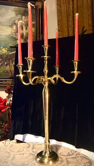 Large, beautiful solid brass 5 candles holder H28xW17 inch for Sale in Chandler, AZ