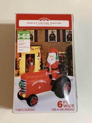 Christmas Decor - Santa's Vintage Tractor 6 FT Wide Indoor/Outdoor Lights Up Self-Inflatable for Sale in Garden Grove, CA