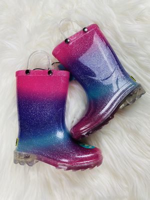 Western Chief Rainbow Glitter Light Up Pull On Rain Garden Boots Toddler Girls 9 for Sale in Winchester, CA