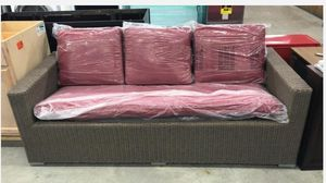 Threshold Heatherstone Wicker Patio Sofa With Red Cushions Toros for Sale in Houston, TX