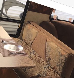 Rv Camper convertible bed/deluxe dinette booth & valences for Sale in Winchester, VA