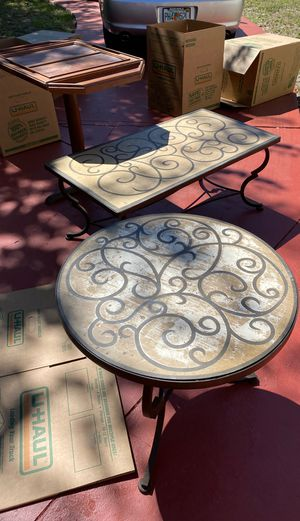 Pier one indoor outdoor tables iron base for Sale in St. Petersburg, FL