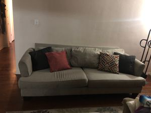 Light gray couch with pillows, washable cushions for Sale in Santa Fe Springs, CA