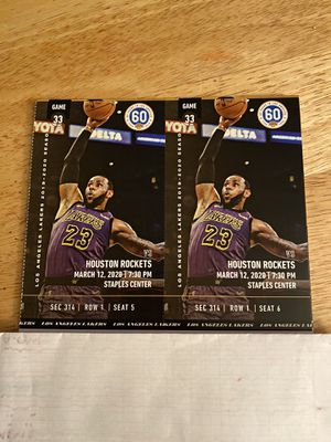 Lakers v Rockets March 12! for Sale in Claremont, CA