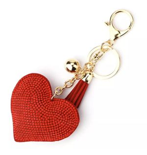 RED GOLD SPARKLY RHINESTONE TASSEL HEART KeyChain PURSE Backpack Tag for Sale in Macomb, MI