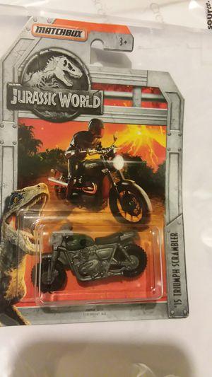 Matchbox jurassic world Owen Grady motorcycle triumph scrambler moc for Sale in Surprise, AZ