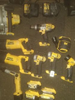 9 Piece 20 Volt Dewalt Set With 4 Batteries And 3 Chargers Comes In Big Dewalt Tool Chest for Sale in SeaTac,  WA
