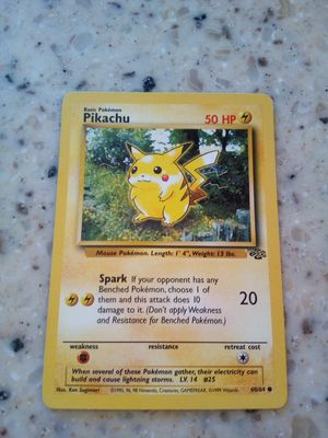Vintage 1999 Pokemon Pikachu/ card # 60/64. /50 hp / spark -20 for Sale in Taylor, MI