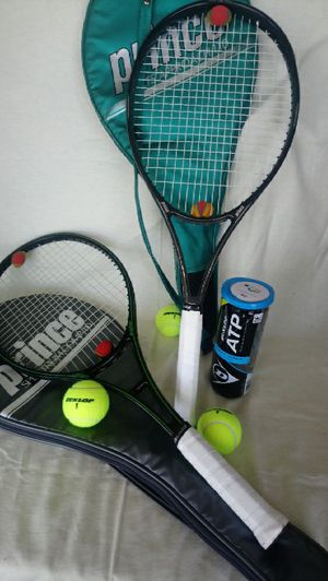 2 Prince tennis rackets with case for Sale in Saint AUG BEACH, FL