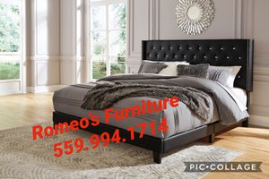 Queen bed frame Romeos Furniture downtown Madera Mattress sold separately for Sale in Madera, CA
