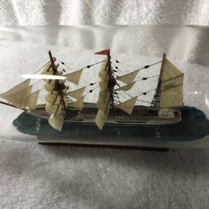 Ship in a bottle. 3.5 in tall x 10.5 in long x 3.5 in wide. Firm. for Sale in Fort Worth, TX