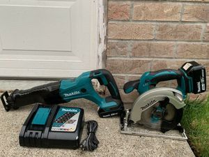Makita 18v Sawzall & circular saw kit, 3.0 & 2.0 batteries, great condition for Sale in Snohomish, WA