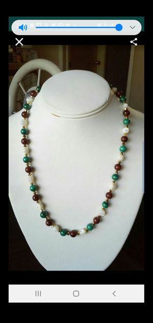 New wonderful necklace,fine with round beads Malachite,round beads tiger eye,round beads mother of pearl and swarovski Aurun double Ab for Sale in Alhambra, CA