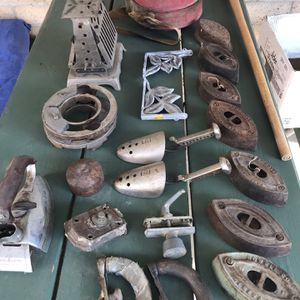 Yard Art Iron Antique Garden Sad Irons $20 Takes All for Sale in Fresno, CA