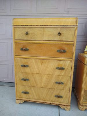 Antique Retro Vintage MCM Mid Century Modern Wood Waterfall Inlay Tall Dresser Tocador for Sale in Modesto, CA