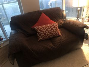 FREE-leather couches with covers and pillows for Sale in Miami, FL