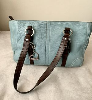 COACH Leather tote, teal/brown for Sale in San Diego, CA