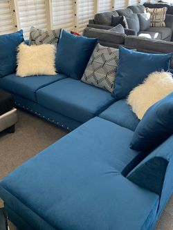 New Blue Nailhead Sectional $40 Down! for Sale in St. Louis,  MO