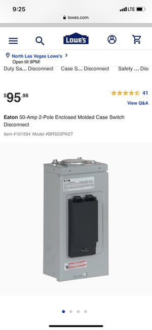 EATON ‼️ 50 Amp hot tub panel ‼️ new open box for Sale in North Las Vegas, NV