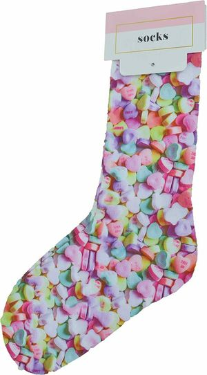 Celebrate Shop Candy Hearts Printed Sock for Sale in Norfolk, VA