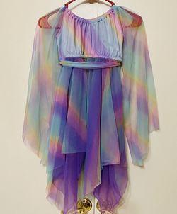 Girls Rainbow Chiffon Tulle Dress Dance Ballet Wear Costume Fairy Unicorn Child 4/6 Purple Small Skirt for Sale in Moses Lake, WA