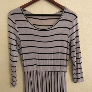 Reborn Oatmeal/Black Striped Midi Dress - Large for Sale in Oakland, CA