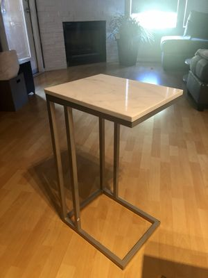 Marble look side table w/ brushed aluminum legs 💜NEW💜 for Sale in Scottsdale, AZ