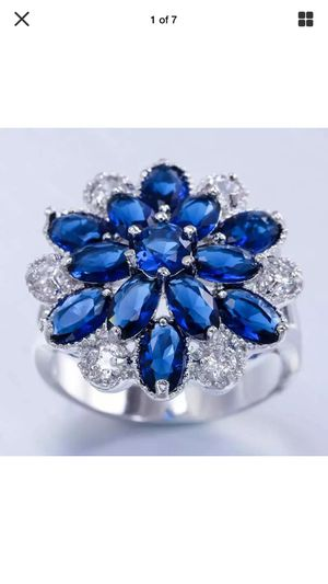 Blue & white teardrop sapphires flower cluster ring gorgeous !! On silver plated band sz7 for Sale in Brecksville, OH