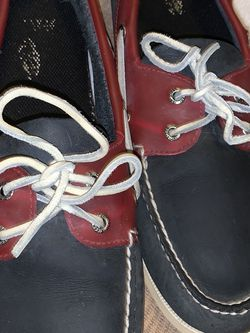 Sperry Topsider Authentic Original 2 Eye Relaxed Leather Boat Shoe Navy/Red for Sale in Chandler,  AZ