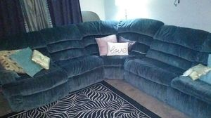 Lite blue couch sectional for Sale in Houston, TX