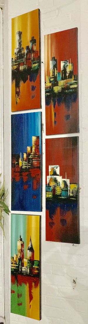"5 beautiful painting canvas 9"" x 21"" for Sale in Cleveland, OH"