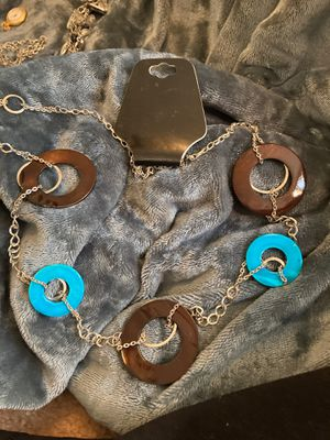 Turquoise/Brown wood Silver Necklace for Sale in Gaston, SC
